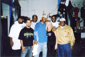 "Naseem Richardson, Jolie Glassman, Bernard Hopkins and his trainer ""Bouie"" Fisher @SBB"