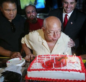 Muhammed Ali, Angelo Dundee and former Miami Beach Mayor David Dermer during Angelo's birthday celebration  @SBB