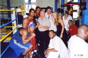 Jolie Glassman with Angelo Dundee, Bernard Hopkins and teammate @SBB